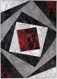 Bali Teppich Kurzflor Modern Grau Weiß Schwarz Rot Vierecke