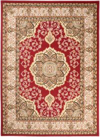 BALI Traditional Area Rug Short Pile Ornamental Medallion Red