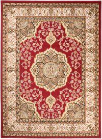 Bali Teppich Kurzflor Klassisch Rot Beige Floral Medaillon