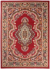 BALI Traditional Area Rug Short Pile Decorative Ornament Red