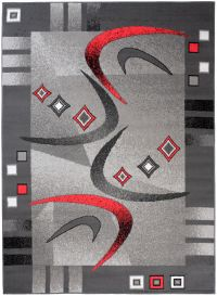Bali Teppich Kurzflor Modern Grau Schwarz Creme Rot Figuren