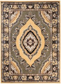 BALI Traditional Area Rug Short Pile Classic Eye Ornament Beige