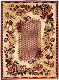 BALI Tapis Traditionnel Fleures Bordure Rouge Beige Noir Doux