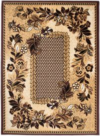BALI Traditional Area Rug Short Pile Cream Brown Floral