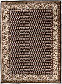 Bali Teppich Kurzflor Klassisch Floral Ornament Schwarz Beige