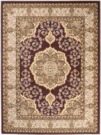 Bali Teppich Kurzflor Klassisch Braun Beige Floral Medaillon