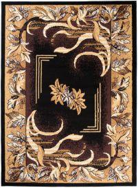 Bali Teppich Kurzflor Modern Floral Schwarz Braun Beige