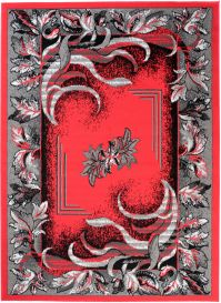 Bali Teppich Kurzflor Floral Design Rot Grau
