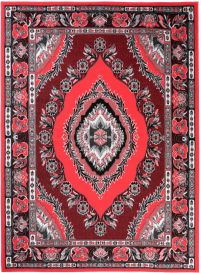 BALI Traditional Area Rug Short Pile Classic Eye Ornament Red