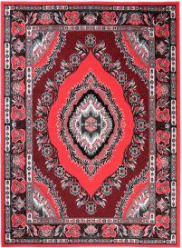 Bali Teppich Kurzflor Klassisch Floral Ornament Rot
