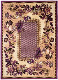 Bali Teppich Kurzflor Lila Beige Floral Retro Design