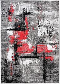 Maya Teppich Kurzflor Modern Grau Creme Rot Streifen Meliert