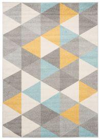 LAZUR Teppich Kurzflor Modern Dreiecke Grau Gelb Blau