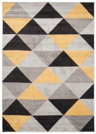 LAZUR Teppich Kurzflor Modern Dreiecke Grau Gelb Schwarz