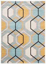 LAZUR Teppich Kurzflor Modern Gitter Grau Creme Gelb Blau