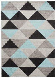 LAZUR Teppich Kurzflor Modern Dreiecke Grau Blau Schwarz