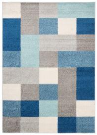 LAZUR Teppich Kurzflor Geometrisch Karo Grau Creme Blau