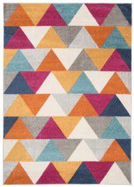 LAZUR Teppich Kurzflor Geometrisch Dreiecke Bunt