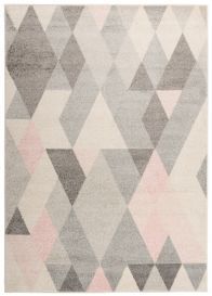 LAZUR Vloerkleed Tapijt Grijs Creme Roze Design Geometrisch