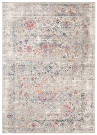 LAZUR Vloerkleed Tapijt Grijs Oranje Design Frame Bloemenprint Abstract