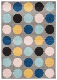 LAZUR Teppich Kurzflor Punkte Grau Gelb Rosa Blau Schwarz