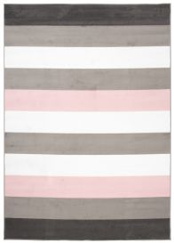 PIMKY Area Rug Teenager Grey Pink Stripes Lines Pattern Durable