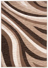 Laila Teppich Kurzflor Modern Beige Braun Creme Meliert Wellen Streifen Verwischt Design Wohnzimmer Schlafzimmer