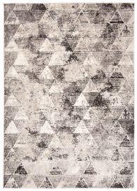 FIESTA Teppich Kurzflor Grau Beige Modern Vintage Dreieck Meliert
