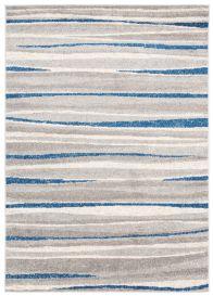 COSMO Modern Area Rug Short Pile Stripes Grey Navy Carpet