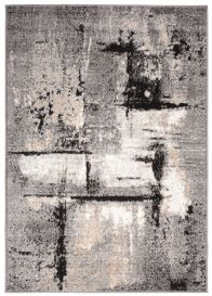 Laila Teppich Modern Kurzflor Schwarz Grau Creme Meliert Verwischt Splash Streifen Design Wohnzimmer Schlafzimmer