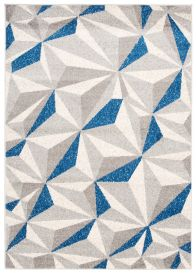 COSMO Modern Area Rug Short Pile Geometric Grey Navy Durable