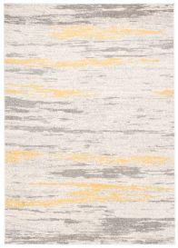 COSMO Teppich Kurzflor Modern Gelb Grau Creme Verwischt Design