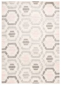 COSMO Modern Area Rug Short Pile Geometric Grey Powder Pink