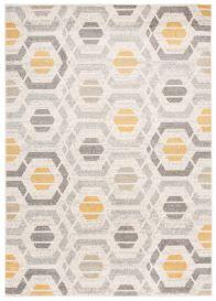COSMO Teppich Kurzflor Modern Gelb Grau Geometrisch Figuren Meliert
