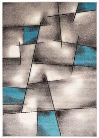 FIESTA Teppich Kurzflor Dunkelgrau Grau Creme Blau Modern Streifen