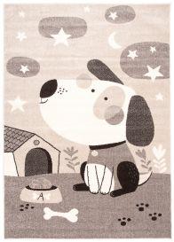 FIESTA Kinderteppich Kurzflor Grau Beige Creme Meliert Hund Tiere