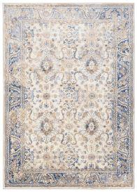 ASTHANE Teppich Kurzflor Creme Beige Blau Vintage Rahmen Meliert