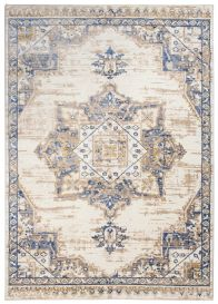 ASTHANE Teppich Kurzflor Creme Beige Blau Ornament Meliert Vintage