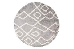 Teppich Boho Rund Shaggy Hochflor Grau Beige Geometrisch Linien
