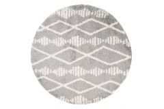 Teppich Boho Rund Shaggy Hochflor Grau Beige Geometrisch Streifen