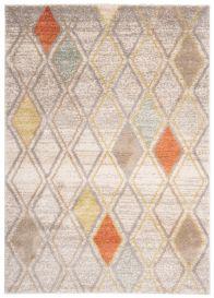 HAVANA Teppich Modern Geometrisch Karo Elfenbein Orange Mehrfarbig