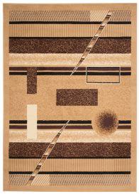 Bali Teppich Kurzflor Modern Braun Creme Geometrisch Figuren Streifen