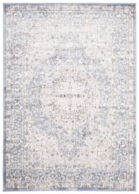 LAOS Area Rug Ornament Cream Navy Flecked Blurred Durable