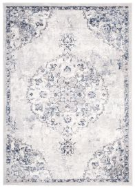 LAOS Teppich Kurzflor Klassisch Vintage Creme Blau Grau Ornamental