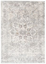 VALLEY Area Rug Vintage Floral Light Grey Mink Rosette Durable