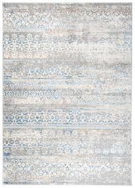 VALLEY Teppich Kurzflor Vintage Boho Design Blumen Grau Weiß Blau
