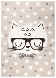 FIESTA Kinderteppich Kurzflor Grau Beige Creme Meliert Katze Tiere