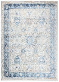 VALLEY Teppich Kurzflor Klassisch Weiß Grau Blau Ornamental