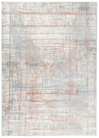 VALLEY Teppich Kurzflor Modern Abstrakt Design Grau Blau Orange