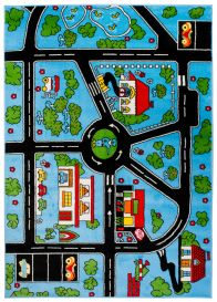 SMILE Area Rug Kids Room Play Mat City Town Streets Blue Multicolour